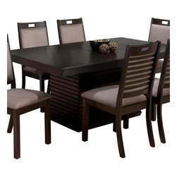 Jofran - Jofran 588-72 Sensei Extension Leaf Dining Table in Oak - This unique set with contemporary flair will be a special addition to your casual dining room. Sensei oak features horizontal dental moulding on the table base and server and is paired with a fantastic upholstered chair with an exposed ladder back. Made with comfort and quality in mind, the Sensei collection will be a welcome addition to your home.