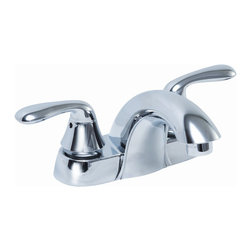 Premier Faucet - Premier Waterfront Chrome 2 Handle Centerset Bathroom Faucet Less Pop-Up - This is a brand new faucet from Premier (model # 126959). The new Waterfront twin-handle faucet blends sleek styling with professional quality performance. This faucet features a metal-infused polymer shell, dependable washerless operation, and a lead-free waterway.  Enjoy the brilliant, reflective look of our chrome finish.  Waterfront lavatory faucets are WaterSense labeled; they deliver a water-efficient flow rate of 1.5 gpm. Replace your standard faucet with Waterfront for a flow rate reduction of 30% without compromising performance. The Environmental Protection Agency states that the average household can save approximately $170 annually by replacing older fixtures and appliances with WaterSense labeled models. Save money and protect our water supply by installing a Waterfront WaterSense labeled lavatory faucet.