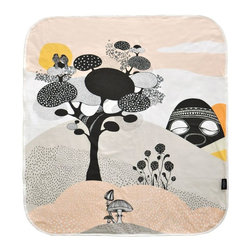 Mini Empire - Mini Empire Baby Blankets, Talking Trees - Baby blankets made of super soft cotton jersey. The blanket has a large illustration on the front by talented brand Mini Empire, and a soft grey & white pattern on the back. The perfect gift for a new born