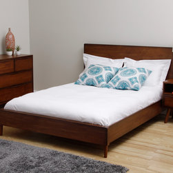 None - Sterling Two-tone Queen-size Bed - The Sterling queen-size bed makes a dramatic statement with its charming, low-profile design. This elegant piece highlights an antiqued two-tone finish and mid-century styling, making it an ideal choice for any decor.