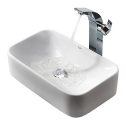 Kraus - Kraus White Rectangular Ceramic Sink and Illusio Faucet Chrome - *Add a touch of elegance to your bathroom with a ceramic sink combo from Kraus