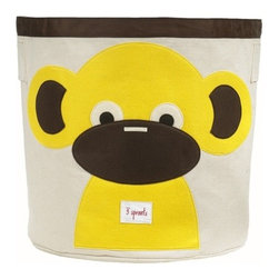 3 Sprouts - Monkey Storage Bin - These cute animal storage bins make bedroom clean-up fun activity for kids! Made of a strong cotton canvas, this bin is tough enough to hold whatever you throw in it, but cute enough to complement the best dressed home. It's well-sized for storing toys, books, or laundry, yet saves space by folding easily when not in use. The 3 Sprouts storage bin makes a perfect gift for babies, toddlers and kids.