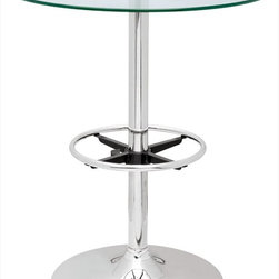 """Chintaly Imports - Round Glass Top Pub Table - Round Glass Top Pub Table; Tempered clear glass top; Chrome finish; Dimensions:30""""W x 30""""D x 36""""H"""
