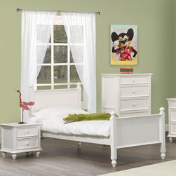 Homelegance - Homelegance Whimsy 3 Piece Kids' Panel Bedroom Set in White - Today your little girl loves purple tomorrow white or maybe green or was it yellow? The Whimsy Collection offers her the option to customize her room to reflect those fantastic whims of youth. Each front drawer panels of the case pieces can be flipped to reveal a different color floral motif. The cottage style collection features cases goods that have been scaled to fit into your child s world. - 2001-PB-3-SET.  Product features: Cottage style; Four Poster Bed; White Finish; Available in Twin and Full sizes. Product includes: Panel Bed (1); Nightstand (1); Chest (1). 3 Piece Kids' Panel Bedroom Set in White belongs to Whimsy Collection by Homelegance.