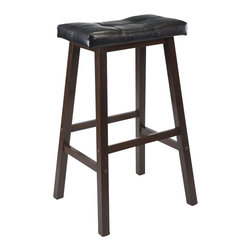 "Winsome - Winsome Mona 29"" Cushion Saddle Seat Stool in Antique Walnut - Winsome - Bar Stools - 94069 - Update kitchen stools with this stylish Counter Saddle Stool with Black Faux Leather cushion seat. Solid wood base in Antique Walnut Finish. Ready to assemble."