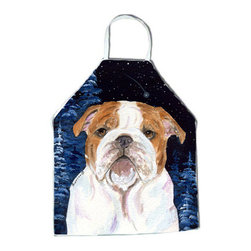 Caroline's Treasures - Starry Night English Bulldog Apron SS8447APRON - Apron, Bib Style, 27 in H x 31 in W; 100 percent  Ultra Spun Poly, White, braided nylon tie straps, sewn cloth neckband. These bib style aprons are not just for cooking - they are also great for cleaning, gardening, art projects, and other activities, too!