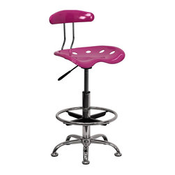 Flash Furniture - Flash Furniture Vibrant Drafting Stool Seat in Pink and Chrome - Flash Furniture - Drafting Chairs - LF215PINKGG - Quality chair at an amazingly affordable price! This sleek, modern stool conforms to several areas in the home or office. The molded tractor seat offers great comfort. The height adjustable capability of this stool allows you to use the stool at the dining table and bar table and anywhere in between. [LF-215-PINK-GG]