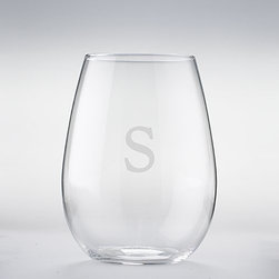Personalized Wine Enthusiast U Chardonnay Stemless Wine Glasses (Set of 2) - Monogrammed stemless glasses are the height of style.