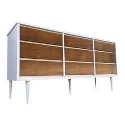 Used Mid-Century Modern Brown & White Credenza Dresser - We love the contrast of walnut and white on this 1960s Mid-Century Modern dresser. It has simple lines with inverted wood pulls, and is in excellent condition - in addition to providing a ton of great storage.
