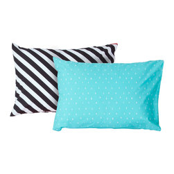 SWENYO - Black & White Stripe and Teal & White Triangle Pillow Case Set - Same is lame. Our unique pillowcases will add color and personality to any space. Hand-selected by our team of designers, this contrasting pillowcase set has vibrant colors and an incredibly soft feel finished with our signature red SWENYO tag.