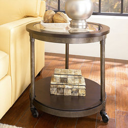 """Hammary - Structure Round End Table in Heavily Distressed Brown Finish - """"There is beauty in simplicity. And seldom does furniture possess more effortless beauty than Hammary's new """"""""Structure"""""""" collection."""