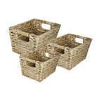 3PC RECT Water Hyancinth Basket - 3 piece light colored water hyancinth baskets