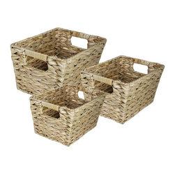 3PC RECT Water Hyancinth Basket - 3 piece light colored water hyancinth baskets