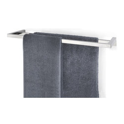 Blomus - Twin Towel Rail, Polished 25.1 in. - Less wall space does not preclude increased towel rack opportunities. This double rack can potentially hold your entire set of towels with room to spare. Two of them would furnish dry towels for your entire family. All in all, an excellent excuse to go buy another set of extra plush bath sheets.