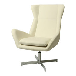 Pastel Furniture - Pastel Seneca Club Chair - Chrome Base - PU Ivory Seat - The Seneca Club chair is structured to meet style with comfort. This chair is upholstered in PU Ivory with Hydraulic adjustable lift with a Chrome base.