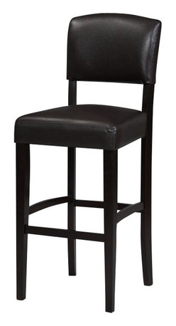 """Linon - Linon Monaco 30 Inch Bar Stool in Espresso - Linon - Bar Stools - 0218VESP01KDU - The 30"""" Monaco Bar Stool features a rich dark espresso finish. Great for homes with dark accents this stool also has a padded vinyl seat and back. The legs are slightly tapered for a more elegant look while the four foot rails provide stability and comfort. This stool is durable enough for a busy kitchen yet elegant enough for a more formal setting."""