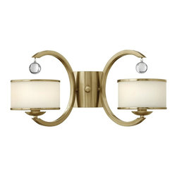 Hinkley Lighting - 4852BC Monaco Wall Sconce, Brushed Caramel, Etched Opal Metal Trimmed Glass - Transitional Wall Sconce in Brushed Caramel with Etched Opal Metal Trimmed glass from the Monaco Collection by Hinkley Lighting.