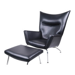Fine Mod Imports - Wing Chair and Ottoman in Black Leather - Features:
