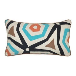 """Villa Home - Pair of Nutopia Mendi Applique Pillows By Villa Home - Geometric pattern is taken to new dimension on the Nutopia Mendi Applique Pillows by Villa Home. A wool and nylon applique is sewn on 100% linen fabric, blending the modern meets organic design style. (VH) Sold as a pair. Feather down inserts included. 26"""" wide x 14"""" high"""