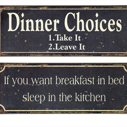 """Imax Worldwide Home - Breakfast and Dinner Signs - Set of 2 - Whimsical black and white, tin, Breakfast and Dinner Signs; Country of Origin: China; Weight: 0.74 lbs; Dimensions: 6""""h x 15.75""""w"""
