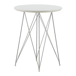 "Monarch Specialties - Monarch Specialties 2346 Glossy White Round Bar Table with Chrome Metal Base - Create a trendy contemporary look with this glossy white 36"" diameter bar table. This piece features sleek chrome metal legs and a smooth surface ideal for drinks and tapas. This table is great for entertaining guest especially in smaller spaces."