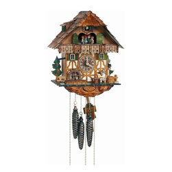 Schneider Cuckoo Clocks - 1-Day Black Forest House Wooden Cuckoo Clock in Antique Finish - 1-day rack strike movement. Wooden cuckoo, dial with roman numerals and hands. Shut-off lever on left side of case silences strike, call and music. Wooden cuckoo calls and strikes every half and full hour. Hand crafted and painted brown dancing figurines. Made from wood. Antique finish. Made in Germany. 10.6 in. W x 7.9 in. D x 13 in. H (7.9 lbs.). Care Instructions