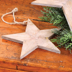 Reclaimed Wood Star Ornaments - Hang throughout your Western tree, or use a larger reclaimed wooden star ornament to top your tree. The reclaimed wood material fits perfectly with this theme.