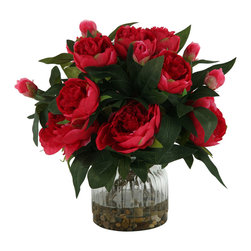 D&W Silks - D&W Silks Burgundy Peonies in Ribbed Glass - For a small floral with big color, look no further than this arrangement of burgundy peonies, set in faux water and river rock. This piece is great for that little extra pop of color in any area. Comes as seen in a ribbed glass vase.