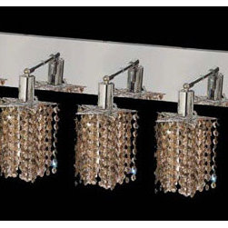 Elegant Lighting - Mini Star Chrome Five-Light Bath Fixture with Royal Cut Golden Teak Smoky Crysta - Royal Cut crystal is a combination of high quality lead free machine cut and machine polished crystals and full-lead machined-cut crystals to meet a desirable showmanship of an authentic crystal light fixture.  -Recommended to be professionally hung and supported independently of the outlet box. Consult an electrician for guidance to determine the correct hanging procedure.  -Crystals may ship separately and some assembly is required.  -Depending on the size & design the assembly can be time consuming, but is well worth the effort. Elegant Lighting - 1285W-O-P-GT/RC
