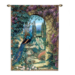 "EttansPalace - 80"" Peacock's Garden Wall Tapestry - Large - A proud peacock surveys an idyllic garden from his lofty perch beneath a wisteria-laden stone archway that opens to a vast vista of Italian Cyprus. One can almost breathe the heady scent of summer roses in this timeless design that pays homage to the ancient art of textiles. Woven in the United States on a quality jacquard loom, this fine, European-styled, polyester cotton blend tapestry is fully lined to accommodate included rod and finials."