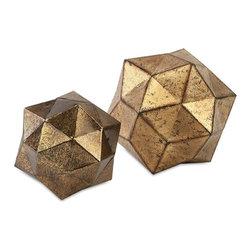"Imax - Metal Anwell Deco Ball - Set Of 2 - *Dimensions: 7.25-9.75""h x 7.25-9.75""w x 9.75"""
