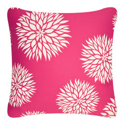 Wabisabi Green - Dahlia Eco Pillow, Cream/Ruby Pink, With Insert - This simply beautiful floral is reason enough to appreciate this pillow. The bonus? Organic cotton twill fabric, printed with environmentally safe inks, will make you feel good about your great taste!