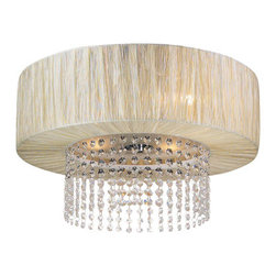 PLC Lighting - PLC Lighting PLC 73025 Crystal 4 Light Down Lighting Flushmount Ceiling Fixture - Crystal 4 Light Down Lighting Flushmount Ceiling Fixture from the Pegasus CollectionThe Pegasus collection features dazzling crystals. The four light down lighting flushmount ceiling fixture has a silk cylinder shade shape with drop down crystals making this an ideal fixture for your dining room or living room.Features: