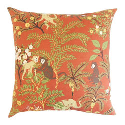 "The Pillow Collection - Fiametta Foliage Pillow, Spice 18"" x 18"" - Liven up your living space with this modern and chic accent pillow."