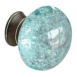 DaRosa Creations - Glass Bubble Drawer / Cabinet Knob, Blue - Light up your space with the reflections of sunlight glinting off these exquisite glass drawer knobs! The Bluer glass and silver look bright and refreshing in your bathroom or kitchen. Perfect cabinet knobs to add some elegance to a room.