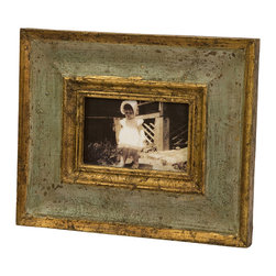Bela Wood Photo Frame - 4 x 6 - Mango wooden frame that is antiqued with green and gold hues of color.