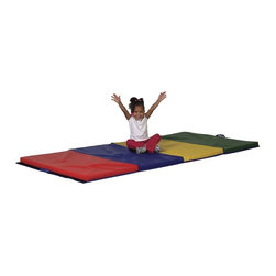 ECR4KIDS - ECR4KIDS 4 x 6 Foot Tumbling Mat Multicolor - ELR-028 - Shop for Gyms and Play Mats from Hayneedle.com! This 4 x 6-Foot Tumbling Mat is heavy duty to encourage your aspiring gymnast to tumble jump or roll head over heels. Little wrestlers would feel right at home grappling on this mat. While most professional mats are 1.5 inches thick this mat's 2-inch-thick polyurethane foam inside offers a soft landing every time. Increase the play area by attaching additional mats using the loop-lock strips on the sides of the mat. Each mat has four sections of different colors (red blue yellow and green) and it folds to store. There is an easy-carry handle attached for added convenience and the rugged vinyl cover is durable and easy to clean. Dimensions: 72L x 48W x 2H inches. About Early Childhood ResourcesEarly Childhood Resources is a wholesale manufacturer of early childhood and educational products. It is committed to developing and distributing only the highest-quality products ensuring that these products represent the maximum value in the marketplace. Combining its responsibility to the community and its desire to be environmentally conscious Early Childhood Resources has eliminated almost all of its cardboard waste by implementing commercial Cardboard Shredding equipment in its facilities. You can be assured of maximum value with Early Childhood Resources.