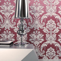 Cranberry Damask wallpaper Regent - Give your walls a traditional look with a modern flare with wallpaper from the Regent Collection by Brewster