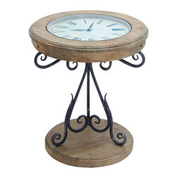ecWorld - Urban Designs Natural Exposed Wood Round Clock Coffee and End Table - Designed for today's most stylish living room decor, this Clock Coffee and End Table offers stunning details. Heavily distressed solid wood uniquely complemented with a strong metal base. Form and function meet in one to create a unique accent piece. Scrolled metal stand, Roman numerals working clock inset in the tabletop is covered by tempered glass. Truly eye-catching appearance.