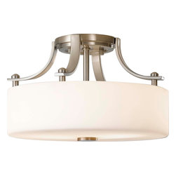 Murray Feiss - Murray Feiss SF259BS Sunset Drive Transitional Semi Flush Mount Ceiling Light - Textures and geometric shapes evoke an organic feel to modern forms. Cylindrical pearlescent glass shades with a hand applied striated finish combine with steel arms are a few attributes these pieces posses. Brushed Steel finish will combine beautifully with a natural color palette to make a subtle but powerful presence.