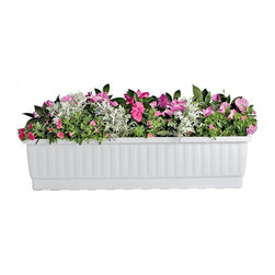 "Large Self Watering Window Box (39""), White - Beautiful Self-Watering Window Boxes Keep Flowers Healthy & Happy"