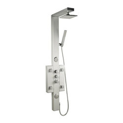 "Hudson Reed - Shower Panel Tower System - Perfect for creating a contemporary look to any bathroom, the Hudson Reed thermostatic shower panel will transform your daily shower routine into pure luxury. Easy to install this high quality shower panel features six body jets, shower handset and a 7"" square fixed shower head."