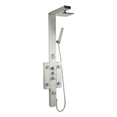 """Hudson Reed - Shower Panel Tower System - Perfect for creating a contemporary look to any bathroom, the Hudson Reed thermostatic shower panel will transform your daily shower routine into pure luxury. Easy to install this high quality shower panel features six body jets, shower handset and a 7"""" square fixed shower head."""