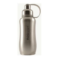 Thinksport - Thinksport Stainless Steel Sports Bottle - Silver - 25 Oz - Built to fit your active lifestyle, thinksport Stainless Steel Insulated Sports Bottles provide an alternative to bottles containing Bisphenol-A (BPA). thinksport Stainless Steel Insulated Sports Bottles are built tough and super insulated to keep the contents cold or hot for hours. This insulated bottle is double-walled and vacuum-sealed stainless steel construction. When you fill your insulated bottle you won't feel the temperature of the contents; now you won't ever have to grab a blazing hot bottle or a freezing cold one either. You can fill our bottle with ice, your favorite drink and enjoy a cold drink without the bottle sweating all over your gym bag, backpack, or desk. thinksport bottles elegant design features a wide mouth opening (for ease of filling and cleaning) and a smaller polypropylene spout (for convenient drinking). thinksport bottles also feature a removable interior mesh filter that keeps ice from blocking the drinking spout and allows users to conveniently brew loose leaf tea on the go or make campfire coffee. The thinksport insulated bottle is a high-quality insulated sport bottle for about the same price as the other guys  basic single-walled bottles. thinksport bottles are made of 18/8 medical-grade 304 stainless steel and do not have any type of potential harmful liner. thinksport products address the growing concern of toxic chemicals leaching from consumer products. All thinksport products are free of bisphenol-A (BPA), lead, PVC, phthalates, melamine, nitrosamines, and biologically toxic chemicals. How do you care for my thinksport bottle? thinksport recommends hand washing your bottles, however bottles are dishwasher safe, be sure to remove the cap and strap first. thinksport Stainless Steel Insulated Sports Bottles are great for the beach, tailgating, bicycling, camping, gym, and for keeping your drinks hot or cold at the office. Size: 25 oz Color: Silver