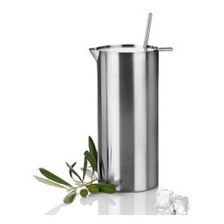 "Stelton - Stelton Cylinda Line Stainless Steel Martini Mixer by Arne Jacobsen - Entire unit made of satin polished stainless steel. Includes mixer spoon. Capacity: 34 oz. (1 Liter)Dimensions: 3.4"" W x 8"" high (8.5 cm x 20 cm). Designed by Arne Jacobsen, 1972. Made in Denmark."