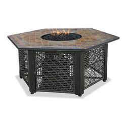 UniFlame Gas Hexagonal Firebowl - Uniflame unique Hexagon Propane Fire Pit with Slate Tile Mantel will enhance your outdoor living area. The beautiful slate tile top will be the neighbourhood talking point. Everyone will want one. Your entertaining area will be warm and welcoming, and unique.