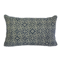 """Interior Nature - Linen Wedding Blanket Pillows, Indigo - A vintage Hand Embroidered Hmong Wedding Blanket combined with 100% linen backing.  Women hand-stitched repetitions of stars and mountains, leaf fronds, crosses, fences and seeds. Please note the blue embroidery is on grey linen (not white). The back is new natural-colored linen. Cuddle down inserts (micro-poly cluster fill) mimic the qualities of down. Hypoallergenic luxury. 12"""" x 20""""."""