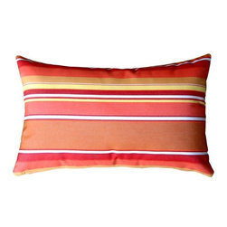 Pillow Decor - Pillow Decor - Sunbrella Dolce Mango 12 x 20 Outdoor Pillow - Rich and vibrant Sunbrella outdoor fabric. Dolce Mango Features: vertical stripes in shades of red, orange and salmon. Add a splash of juicy color to your outdoor furniture with these gorgeous pillows. Paired with the rectangular striped version, it really adds punch! The Dolce Mango fabric coordinates beautifully with Sunbrella's Canvas Melon, Tangerine, and Buttercup Yellow.