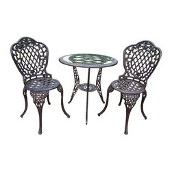 Oakland Living - Oakland Living Mississippi Cast Aluminum 3-Piece Glass Top Bistro Set - Oakland Living - Patio Bistro Sets - 2055VG - About This Product: