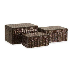 Orchid Mosaic Boxes - Set of 3 - Whether used in your bedroom to store your jewelry, near your home theater for keeping remote controls and other necessities close at hand, or simply as a beautiful accent to your home decor, this set of decorative boxes will soon become a favorite part of your space. With a mosaic of small, iridescent tiles decorating each, these pieces will bring an new level of depth and interest into any style of home decor. For a coordinated look purchase matching vases.